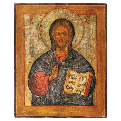 """Icoană pe lemn, """"Iisus Pantocrator"""", școală rusească, începutul sec. XIX, provine din colecţia Lucrezia și Ion Pacea"""