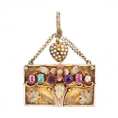 Pandantiv din aur, decorat cu ametist, turmalină, safire roz și diamant, cca. 1900