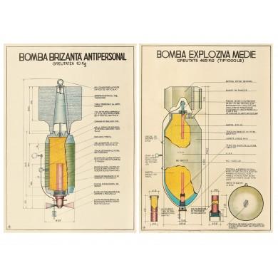 """Lot format din două afişe didactice, cu elementele componente ale bombei, Întreprinderea """"13 decembrie 1918"""", cca. 1970"""