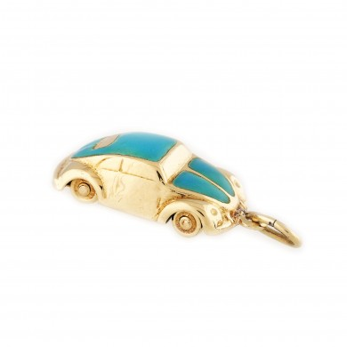 Mărțișor cu pandantiv-mașină Beetle din aur, decorat cu email