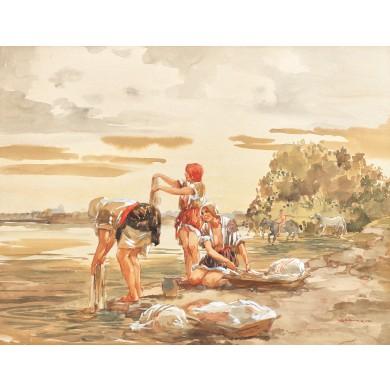 Spălatul rufelor la râu