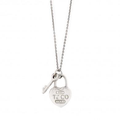 Pandantiv și lanț Tiffany, din argint, în formă de inimă și cheiță