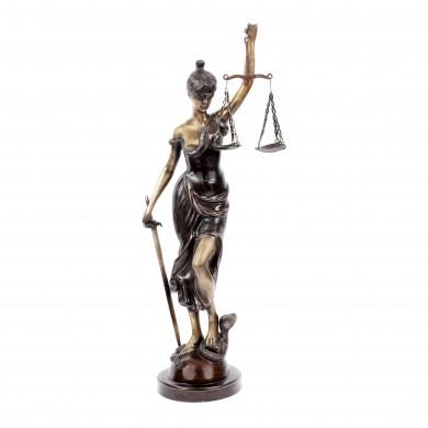 Statuie decorativă din bronz în două culori, reprezentând Justiția, pentru interior