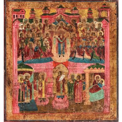"""Icoană pe pânză lipită pe lemn, """"Acoperământul Maicii Domnului"""", Rusia, sec. XIX"""