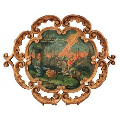 """Icoană pe lemn, """"Sfântul Mina care inviază pe cel omorât de tâlhari"""", atelier muntenesc, datată 1858"""