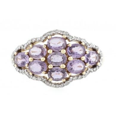 Inel din aur, decorat cu safire roz și diamante