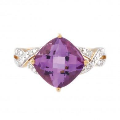 Inel din aur, decorat cu ametist și diamante în model împletit