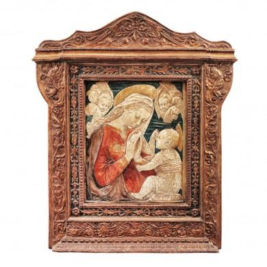 """Basorelief pictat, """"Madonna cu Pruncul"""", atelier central-european, 1870-1900"""