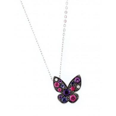 """""""Spring Butterfly""""- lanț cu pandantiv-fluture din aur alb, decorat cu diamante și alte pietre prețioase"""