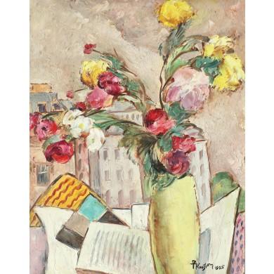 Natură statică cu flori și cărți
