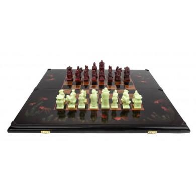Joc de șah de dimensiuni mari, din lemn ebenizat, pictat manual cu decor chinoise