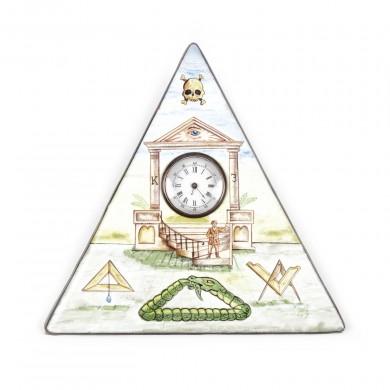 Inedit ceas de călătorie, din porţelan, pictat manual cu însemne masonice