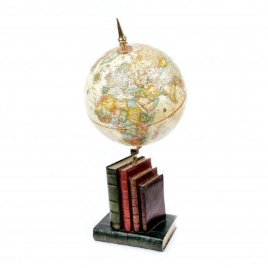 Glob pământesc de birou, cu o bază simulând cărţi