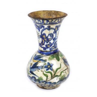 Vas din ceramică, pictată cu grădină, perioada otomană, Turcia, sec. XIX, provine din colecţia Lucrezia și Ion Pacea