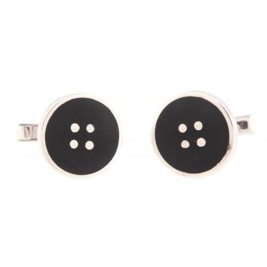 Pereche de butoni din argint, cu motiv nasture emailat