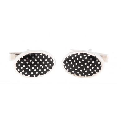 Pereche de butoni din argint, de formă ovală, decorată cu email