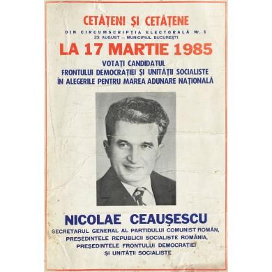 Afiș al alegerilor pentru Marea Adunare Naţională, 1985