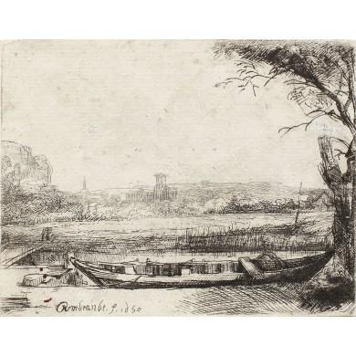 Canal cu barcă şi pod