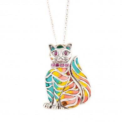 """""""Pisicuță"""" - lanț cu broșă convertibilă în pandantiv, din argint aurit, decorată cu rubine"""