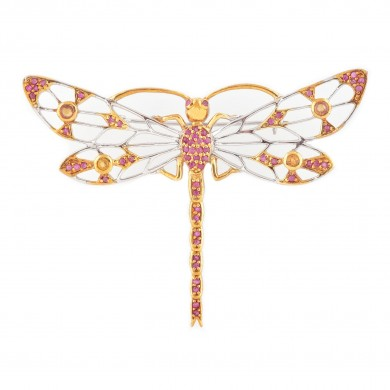 """""""Libelulă"""" - broșă din argint aurit, decorată cu rubine și safire"""