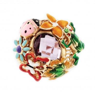 Inel din aur decorat cu ametist, fluturi și broscuțe