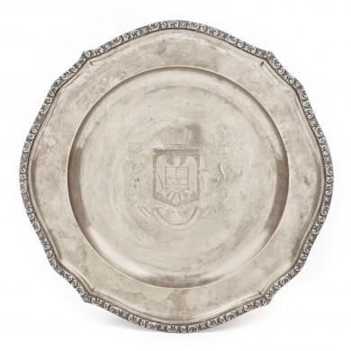 Platou din argint cu stema regală a României Mari, 1918-1926