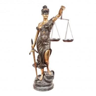 Statuie Art Deco reprezentând Justiția, după Alois Mayer (1855-1938), de dimensiuni monumentale, pentru decorare interior/exterior