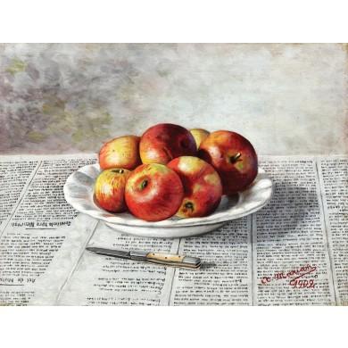 Natură statică cu mere și cuțit
