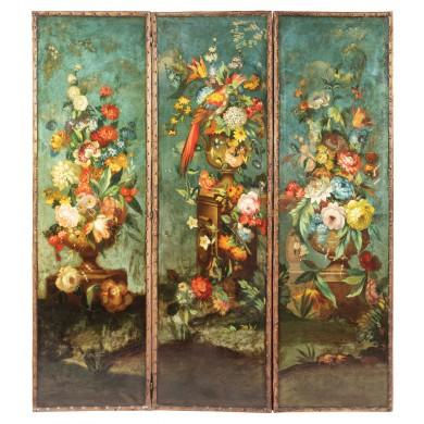 Paravan cu decoruri florale de inspirație flamandă, sfârşitul sec. XVIII