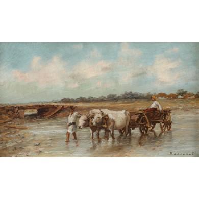 Car cu boi traversând râul