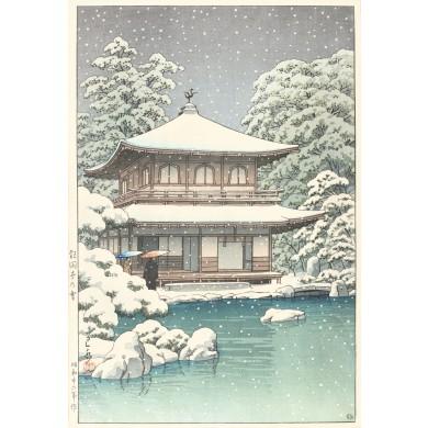 Zăpadă la templul Ginkakuji