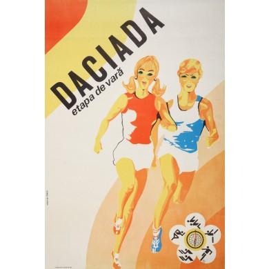 """Afiș al concursului de atletism pentru tineret """"Daciada"""", Întreprinderea Poligrafică Sibiu, cca. 1980"""