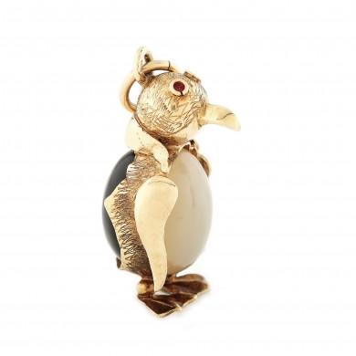 Mărțișor cu pandantiv-pinguin, din aur