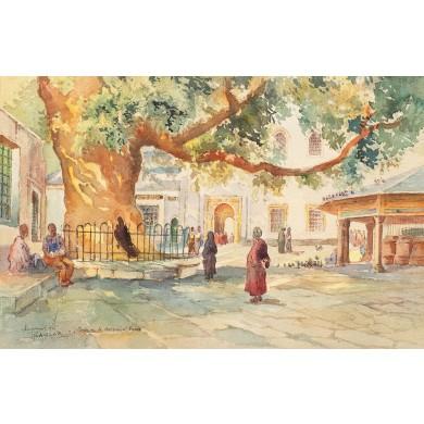 Turci în curtea Moscheii Eyoub (Constantinopol)