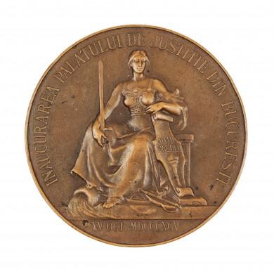 """Medalie """"Inaugurarea Palatului de Justiție din București"""", 15 octombrie 1895, gravor C. Stelmans"""