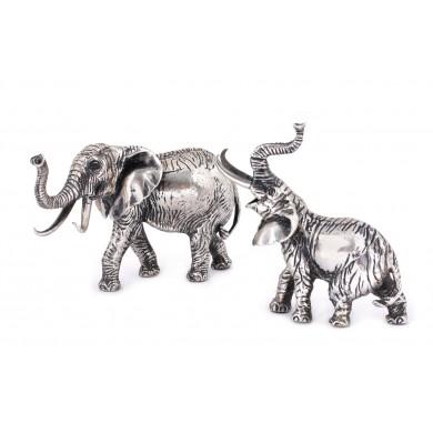 Pereche de figurine din argint, reprezentând elefanți miniaturali