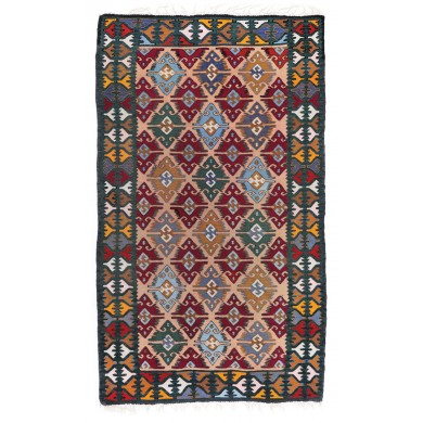 Rug from Muntenia, decorated with rhombi and cross seals, mid-20th century