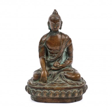 Statuette made of bronze, signed, representing Shakyamuni Buddha, probably India, the 17th - 18th century