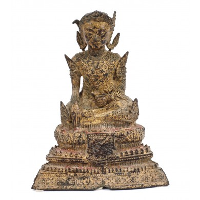 "Statuette made of golden iron, representing Dhyani Buddha Akshobhya, one of the ""Five Wisdom Buddhas"", Thailand, the 18th century"