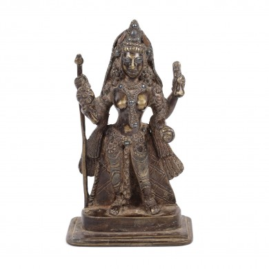 "Bronze statuette coloured with brass and lead, illustrating goddess Baglamukhi, one of the ""Ten Tantric deities in Hinduism"", India, the 18th century"