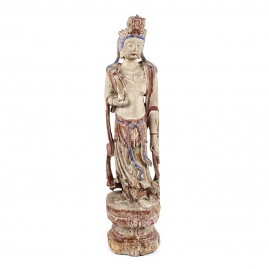 Statuette made of painted exotic wood, illustrating Guanyin, goddess of wisdom and compassion, the Song dynasty,  China, the 12th-13th century