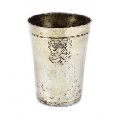 Sebastian Hann silver glass, engraved with the Sibiu coat of arms, 1690, rare item, from the Lucrezia and Ion Pacea collection
