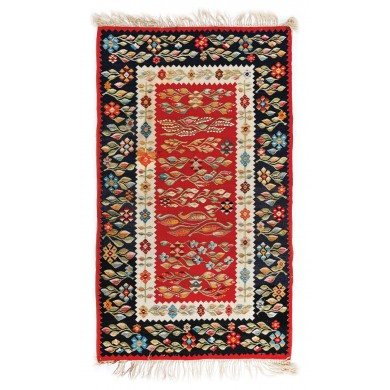 Rug from Oltenia, made of wool, richly decorated, monastery workshop, approx. 1940