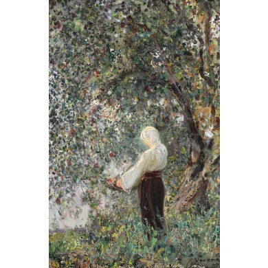 Peasant girl in the apple orchard