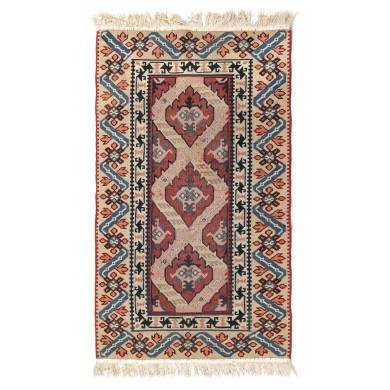 Moldavian rug made of wool, manufactured in a monastery workshop, decorated with geometric motifs, approx. 1920