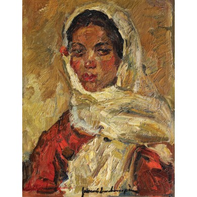 Peasant girl with white scarf