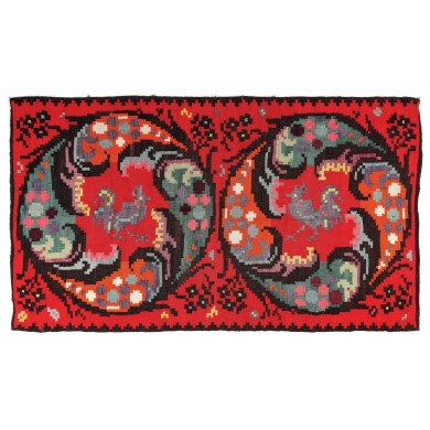 Traditional Moldavian rug made of wool,  for walls, decorated with two roosters and geometric motifs, the first half of the 20th century