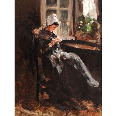 Breton girl working by the window