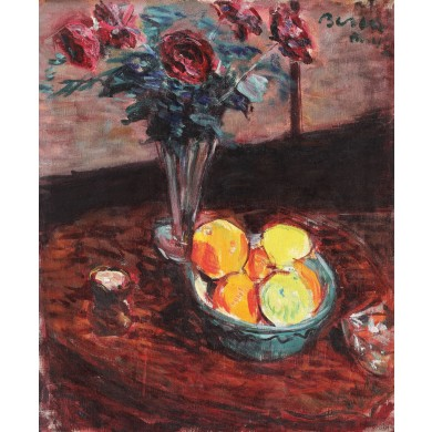 Still life with lemons and roses