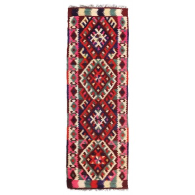 Wool rug from Maramureș decorated with ram forns and geometric motifs, the beginning of the 20th century